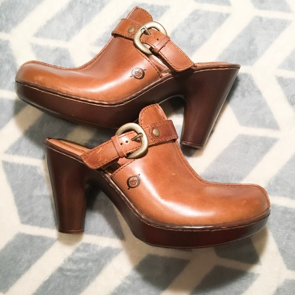 17094a8919c07e Born Shoes - Born Brown Leather Heel Mules